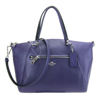 COACH PRAIRIE荔枝紋皮革手提/斜背包(深紫)