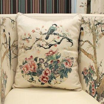 中式花鳥沙發抱枕床頭靠背靠墊含芯