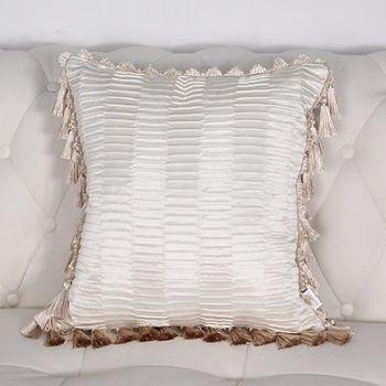 米白色壓皺現代床頭靠包靠墊含芯