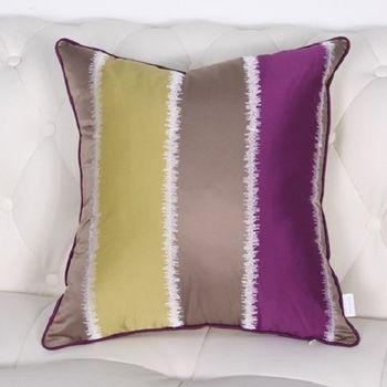 簡約現代黃紫條紋時尚沙發大靠墊含芯