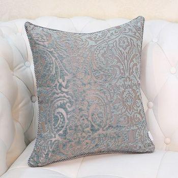 藍綠色花紋床頭沙發靠背大靠墊抱枕含芯