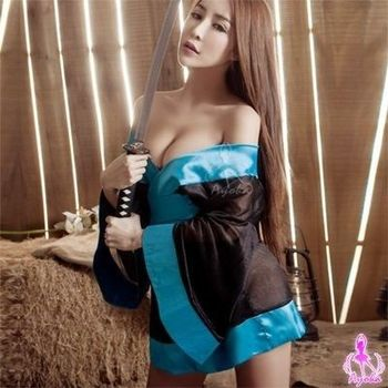 i-Style 黑色薄紗和服角色扮演服(黑藍)【AB01647】
