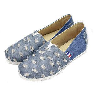 FUFA MIT  牛仔藍質感懶人鞋   (FT03)-沖孔籃