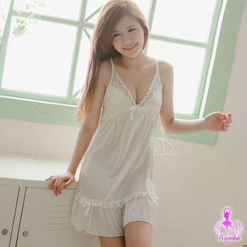 i-Style 甜美日系白色柔緞睡衣(白)【AB03292】