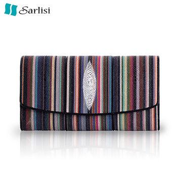 Sarlisi 春夏名品珍珠魚皮三折長夾(2色可選)