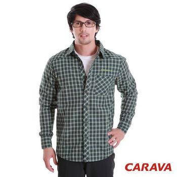 CARAVA男秋冬款長袖格子襯衫(綠格)  厚款吸濕排汗面料優異的保暖吸濕排汗效果