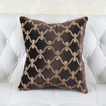 繡花格子極致奢華歐式床頭靠墊含芯