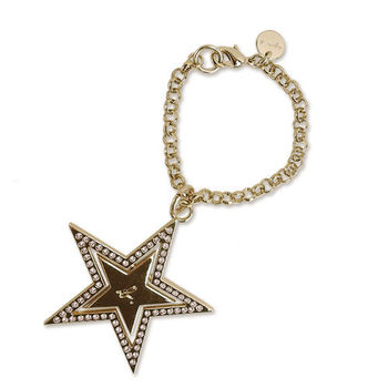 agnes b 雙層星星鑲鑽吊飾(金)