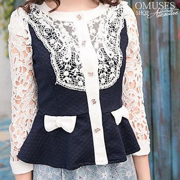 【OMUSES】蕾絲OL西裝式外套11-6925(藍 S-XL)