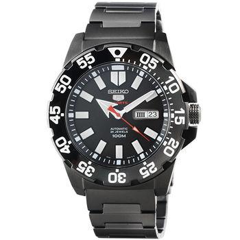 SEIKO 精工超霸機械鋼帶腕錶-IP黑 / SRP489K1