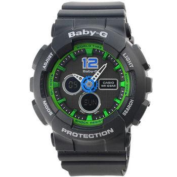CASIO 卡西歐Baby-G 鬧鈴多時區雙顯錶-黑 / BA-120-1B