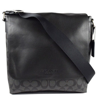 COACH 72109 經典LOGO皮革防水PVC拼接大斜背包.黑灰