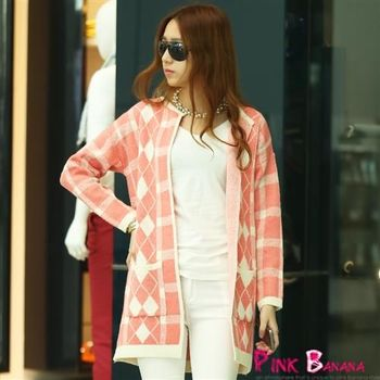 Pink Banana-方格菱形雙口袋開襟外套