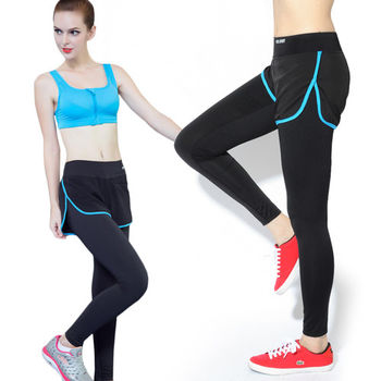 【LOTUS】彈力顯瘦假兩件速乾運動褲(率性藍)