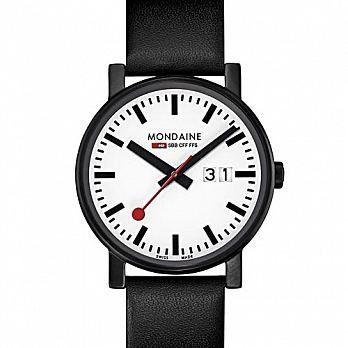 MONDAINE 瑞士國鐵黑與白系列大日期腕錶/30mm (66911SK)
