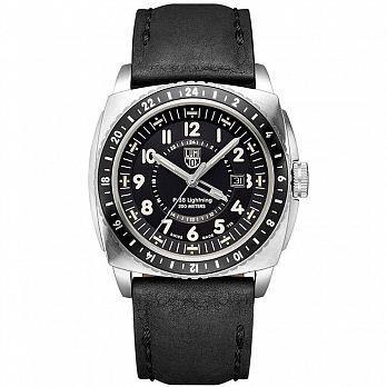 LUMINOX 雷明時P-38閃電式戰機 兩地時間紀念腕錶-黑x銀時標/44mm 9421