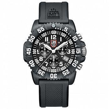 LUMINOX 雷明時 海豹部隊三眼系列 經典腕錶-黑x白時標/44mm A3081