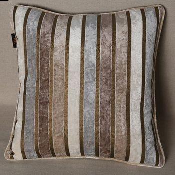 現代條紋絨布床頭沙發抱枕含芯