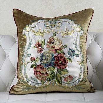 繡花極致奢華歐式床頭靠墊含芯