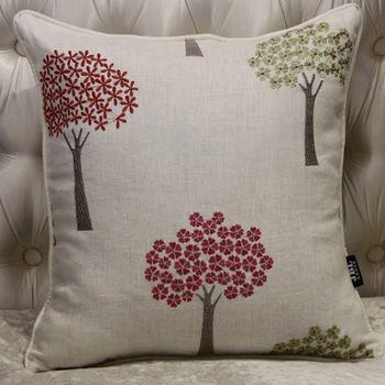 美式鄉村棉麻布小樹刺繡床頭沙發抱枕含芯