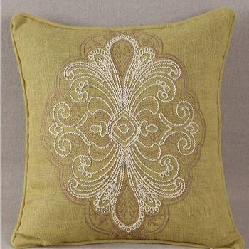 中式古典圖案棉麻繡花抱枕靠墊含芯