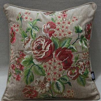 家居現代中式牡丹花滿繡抱枕靠墊含芯