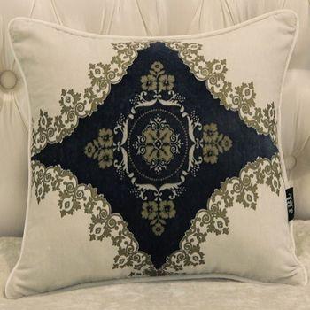 家居中式新古典藏青圖案麂皮絨床頭沙發抱枕含芯