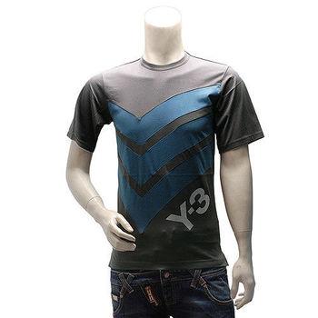 Y-3  adidas山本耀司經典LOGO線條純棉短袖圓領T恤(藍)