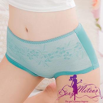 【Sexy Meteor】全尺碼-甜蜜絮語花樣中低腰三角內褲(雅翠藍)A2439-01