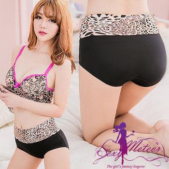 【Sexy Meteor】全尺碼-俏麗動人豹紋高腰三角內褲(時尚黑)A2438-04