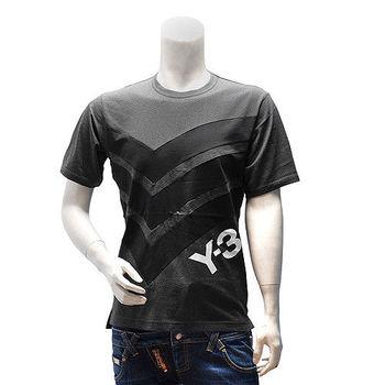 Y-3  adidas山本耀司經典LOGO線條純棉短袖圓領T恤(黑)