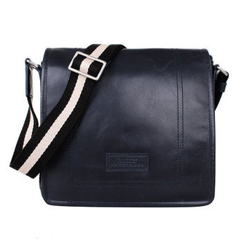 BALLY黑白背帶直立式掀蓋全皮斜背包(藍)