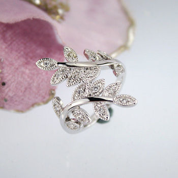 【xmono】銀色樹葉紋身晶鑽戒指