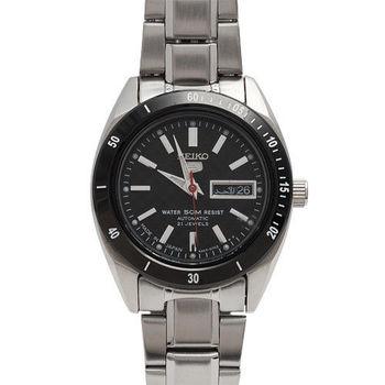SEIKO五號黑框格紋自動上鍊機械女錶(黑/25mm)