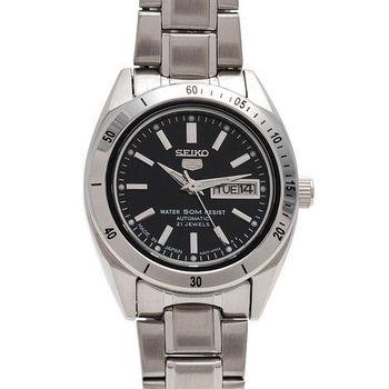 SEIKO精工盾牌五號自動上鍊機械女錶(黑/25mm)