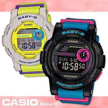 【CASIO 卡西歐 Baby-G 系列】搶眼撞色衝浪滑板女錶(BGD-180)