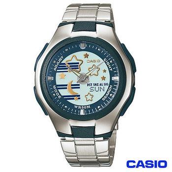 CASIO卡西歐 甜美卡哇依時尚休閒雙顯腕錶-藍 LCF-10D-2A