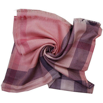BURBERRY經典方格紋絲質+喀什米爾羊毛披肩/圍巾-(珊瑚色)