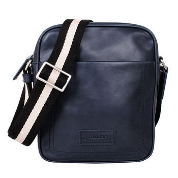 BALLY黑白織帶皮直立拉鍊斜背包(藍)