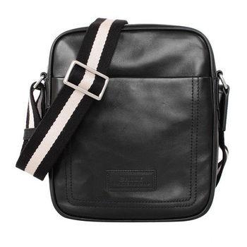BALLY黑白織帶皮直立拉鍊斜背包(黑)