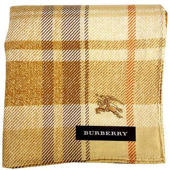 BURBERRY 正格紋刺繡戰馬帕領巾-黃卡其色