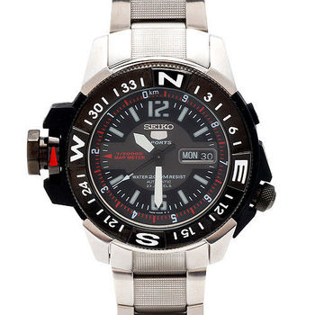 SEIKO精工盾牌5號潛水戰將雙龍頭自動上鍊機械男錶(黑X紅/46mm)