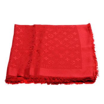 LV M72237 經典Monogram花紋羊毛混絲披肩/圍巾 (紅色)