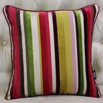 家居簡約現代條紋高檔割絨布沙發抱枕含芯