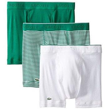 【Lacoste】2015男時尚綠白紋修飾四角內著混搭3件組(預購)