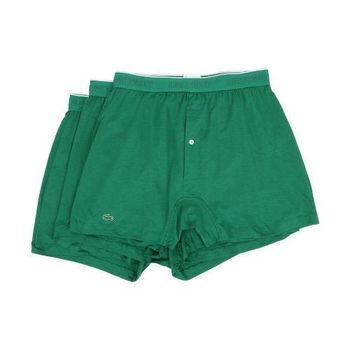 【Lacoste】2015男時尚寬鬆鈕扣綠色平角內著3件組(預購)