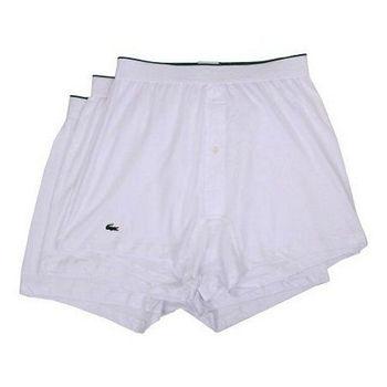 【Lacoste】2015男時尚寬鬆鈕扣白色平角內著3件組(預購)