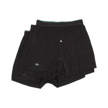 【Lacoste】2015男時尚寬鬆鈕扣黑色平角內著3件組(預購)