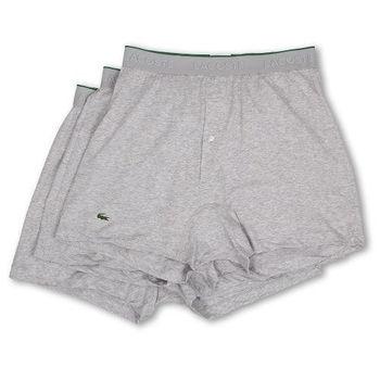 【Lacoste】2015男時尚寬鬆鈕扣灰色平角內著3件組(預購)
