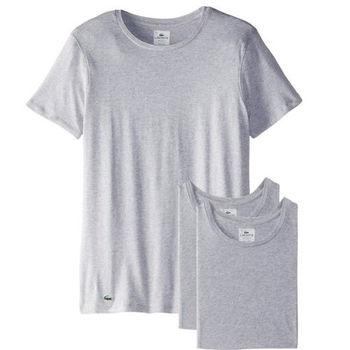 【Lacoste】2015男時尚純棉彈性灰色圓領短袖內衣3件組(預購)